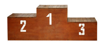 Sport. Wooden podium with white numbers Stock Images