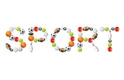Sport word from balls  Royalty Free Stock Images