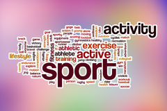 Sport word cloud with abstract background Royalty Free Stock Photo
