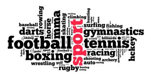 Sport word cloud concept. Over white background Royalty Free Stock Photos