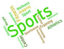 Sport-Wort zeigt körperliche Tätigkeit und das Trainieren Stockfotos