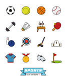 Sport wypełniający kreskowy ikona wektor ustawia 1 Obrazy Royalty Free