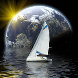 Sport yacht in planet sea. Sport yacht glide to planet Royalty Free Stock Photo