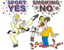 Sport yes smokimg no stop smoking Stock Photo