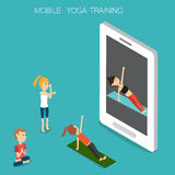 Sport Yoga traing online mobile Isometric 3D vector. illustratio. N EPS10 Stock Photos