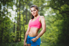 Sport young beautiful woman in fitness wear Royalty Free Stock Photography