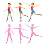 Sport young girl and a set of silhouettes Royalty Free Stock Photography