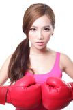 Sport young woman with boxing gloves Royalty Free Stock Photography