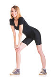 Sport Young woman doing exercise isolated on white Royalty Free Stock Photos