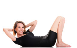 Sport Young woman doing exercise isolated on white Royalty Free Stock Photography
