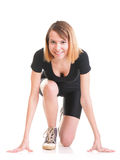 Sport Young woman doing exercise isolated on white Royalty Free Stock Images