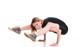 Sport Young woman doing exercise isolated on white Royalty Free Stock Image