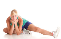 Sport Young woman doing exercise  on white Stock Photos