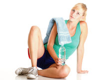 Sport Young woman doing exercise  on white Royalty Free Stock Image