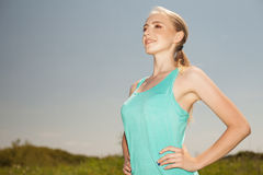 Sport  young  woman exercising in the outdoors yoga photo on nat Royalty Free Stock Photos