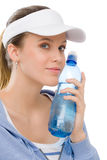 Sport - young woman fitness outfit water bottle Stock Image