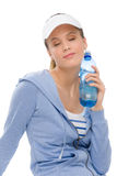 Sport - young woman fitness outfit water bottle Royalty Free Stock Image