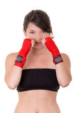 Sport young woman, gloves, fitness girl over white Royalty Free Stock Photos