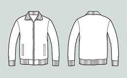 Sport zipper jacket with pockets. Front and back stock photo