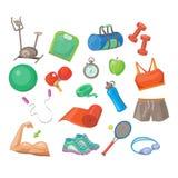 Sport-Zubehör, Vektor-Illustrations-Satz Lizenzfreie Stockfotos