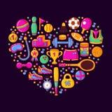 Sporta doodle ikon kierowego kształta wektoru kolorowy set Fotografia Royalty Free