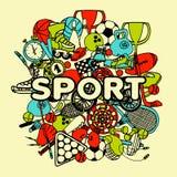 Sporta Doodle kolaż ilustracji