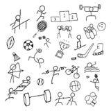 Sporta Doodle sztuki ikony set Cienieje kreskową ikonę dla Dennej gry i Olymp Zdjęcie Royalty Free