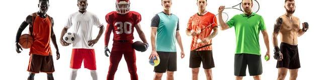 Sporta kolaż o żeńskich atletach lub graczach Tenis, bieg, badminton, siatkówka zdjęcie stock