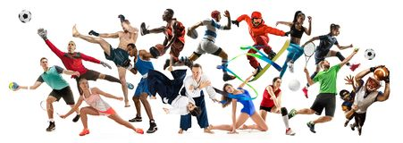 Sporta kola? o atletach lub graczach Tenis, bieg, badminton, siatk?wka obrazy royalty free