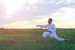 Sporta mężczyzna trenuje sztuka samoobrony karate przy zmierzchem, beauti Zdjęcie Stock