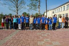 Sporta odległość w milach i otwarcie pomnik żołnierze wojna światowa 2 w Kaluga regionie Rosja Obrazy Royalty Free