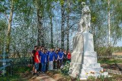 Sporta odległość w milach i otwarcie pomnik żołnierze wojna światowa 2 w Kaluga regionie Rosja Zdjęcia Royalty Free