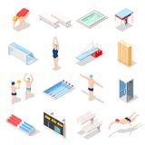 Sporta Pływackiego basenu Isometric ikony ilustracja wektor