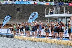 Sporta pływacki triathlon Zdjęcia Royalty Free
