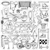 Sporta ręka rysujący set Zdjęcia Royalty Free