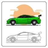 Sporta supercar zieleni boczny widok ilustracja wektor