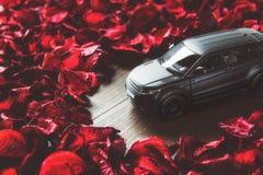 Sporta SUV czerni tlenkowego samochodu zabawkarskiego i czerwonego płatka tapetowy tło, selekcyjna ostrość Obrazy Stock