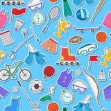 Sporta wyposażenie, bezszwowy tło, proste ikony na błękitnym tle Zdjęcia Royalty Free