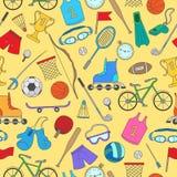 Sporta wyposażenie, bezszwowy wzór, proste kolor ikony na żółtym tle Obraz Royalty Free