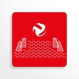 Sporta znak Wodny polo przygotowywa ikonę Czerwony i biały wizerunek na lekkim tle z cieniem royalty ilustracja