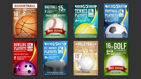 Sportaffiches Geplaatst Vector Golf, Honkbal, Ijshockey, Kegelen, Basketbal, Tennis, Voetbal Ontwerp voor Sportbar stock illustratie