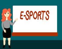 Sportar för handskrifttext E Spelade den multiplayer videospelet för begreppsbetydelsen konkurrenskraftigt för åskådare royaltyfri illustrationer