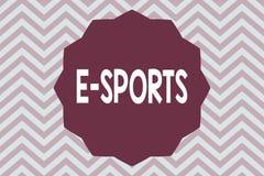 Sportar för ordhandstiltext E Affärsidéen för multiplayer videospel spelade konkurrenskraftigt för åskådare royaltyfri illustrationer