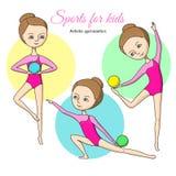 Sportar för ungar konstnärlig gymnastik Fotografering för Bildbyråer