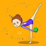 Sportar för ungar konstnärlig gymnastik Arkivfoto