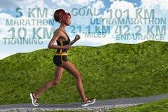 Sportar för uttålighet för utbildning för kvinnalöparemaraton rinnande Fotografering för Bildbyråer
