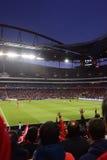 Sportar folkmassa, lek för mästareligafotboll, fotbollstadion Royaltyfri Bild