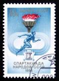 Sportar IX och friidrottmöte av av USSR-folk, circa 1986 Royaltyfria Foton