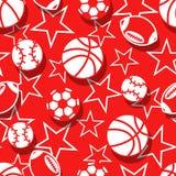 Sportar klumpa ihop sig i röd och vit sömlös modell Fotografering för Bildbyråer