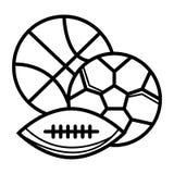Sportar klumpa ihop sig symbolen stock illustrationer